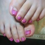 ピンク大理石フットネイルのサムネイル