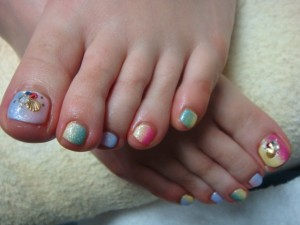 縦グラデfoot nail